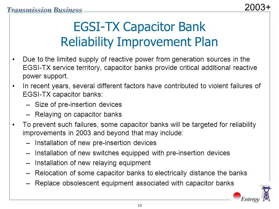 EGSI-TX Capacitor Bank Reliability Improvement Plan