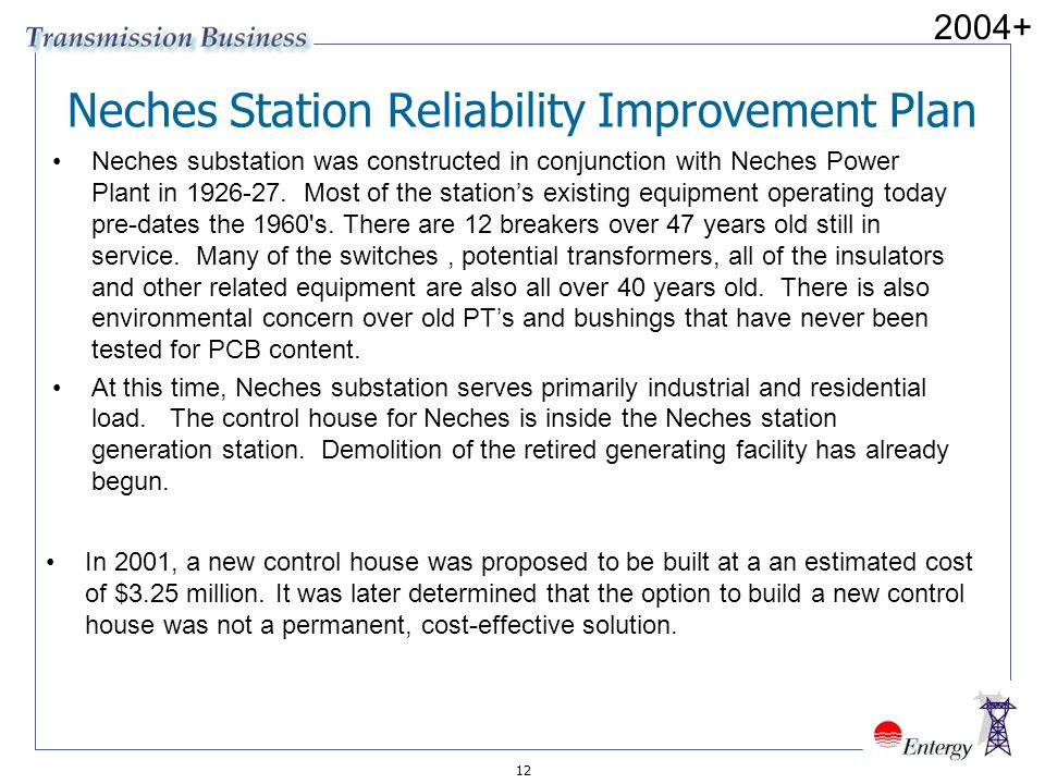 Neches Station Reliability Improvement Plan