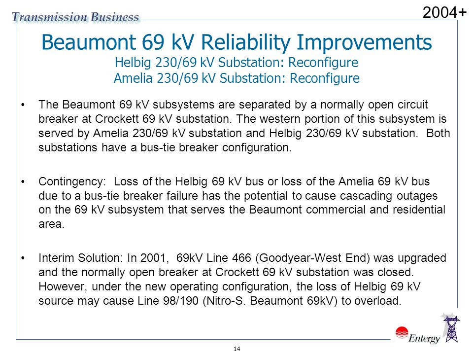 2004+ Beaumont 69 kV Reliability Improvements Helbig 230/69 kV Substation: Reconfigure Amelia 230/69 kV Substation: Reconfigure.