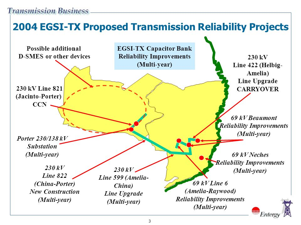 2004 EGSI-TX Proposed Transmission Reliability Projects