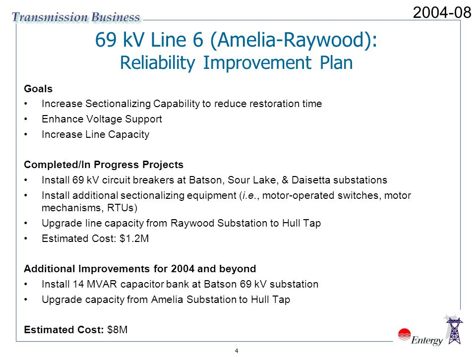 69 kV Line 6 (Amelia-Raywood): Reliability Improvement Plan