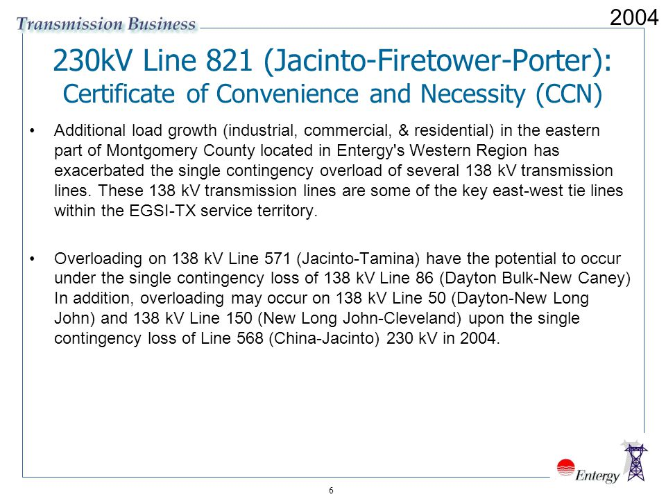 kV Line 821 (Jacinto-Firetower-Porter): Certificate of Convenience and Necessity (CCN)