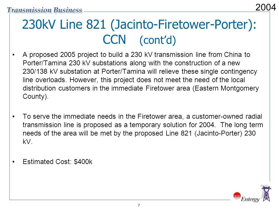 230kV Line 821 (Jacinto-Firetower-Porter): CCN (cont'd)