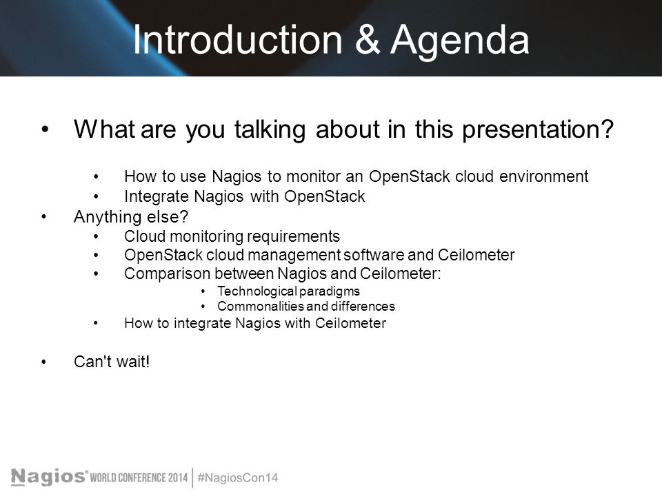 Introduction & Agenda What are you talking about in this presentation