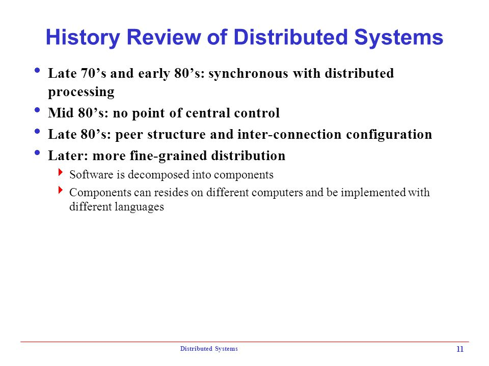 History Review of Distributed Systems