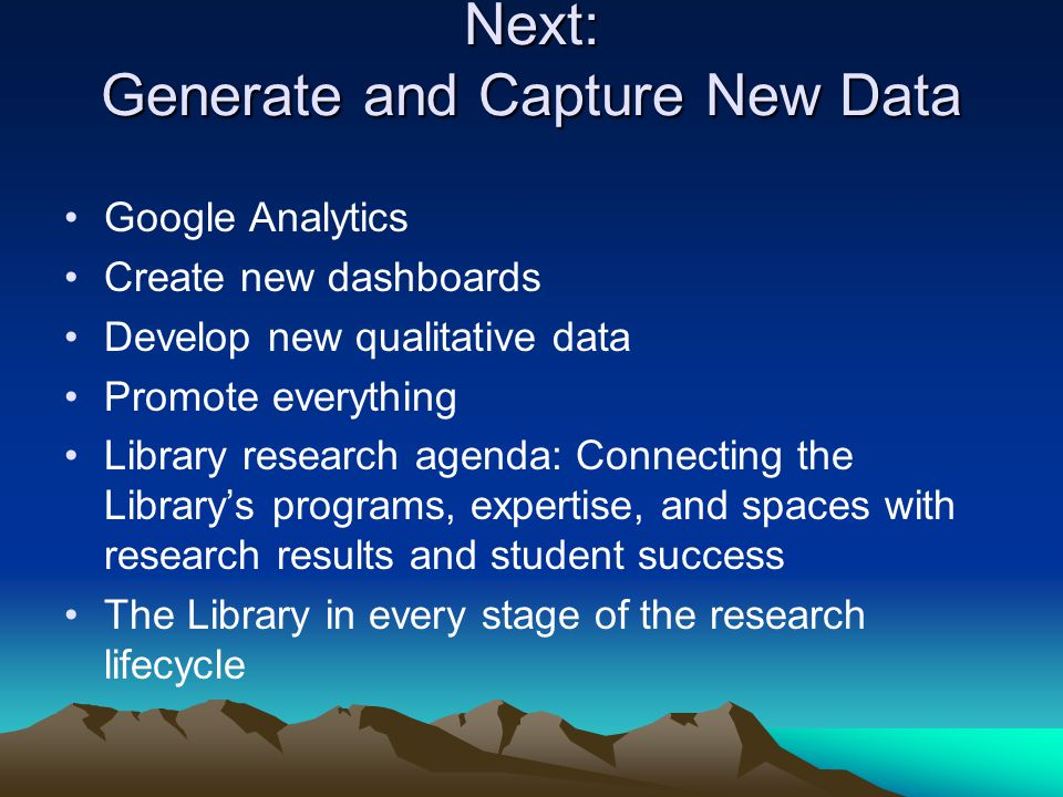 Next: Generate and Capture New Data