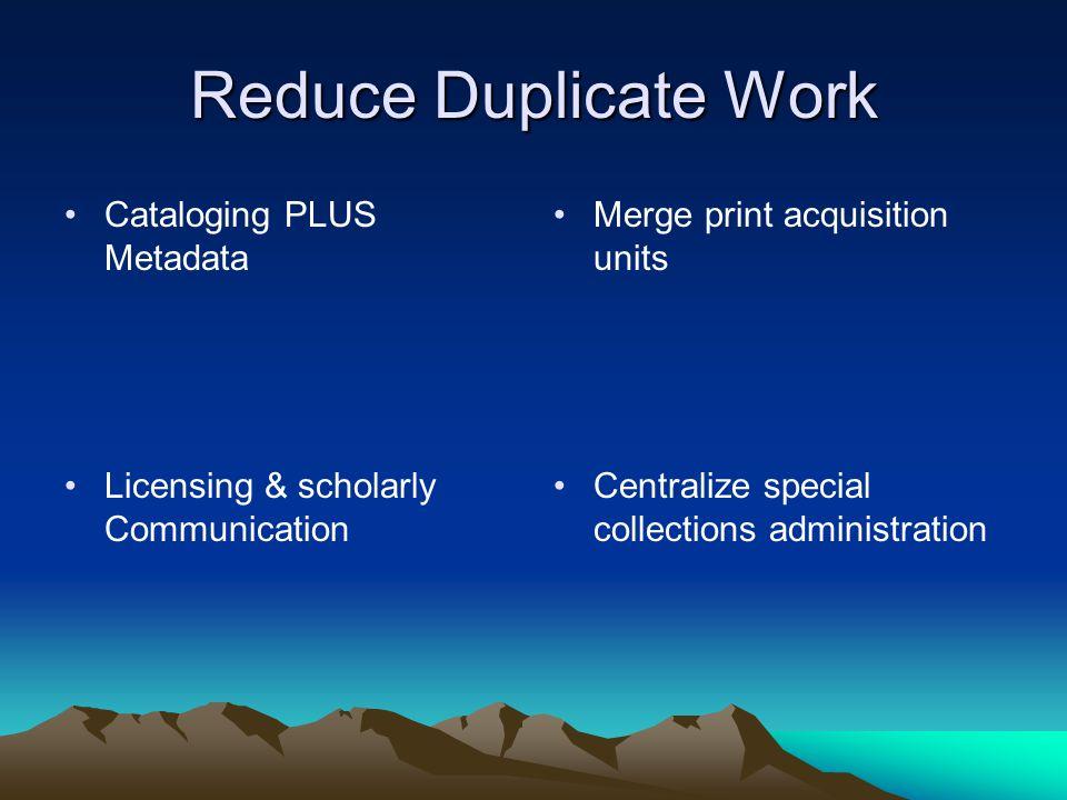 Reduce Duplicate Work Cataloging PLUS Metadata