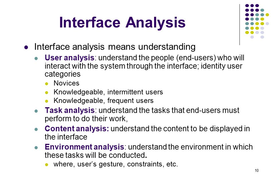 Interface Analysis Interface analysis means understanding