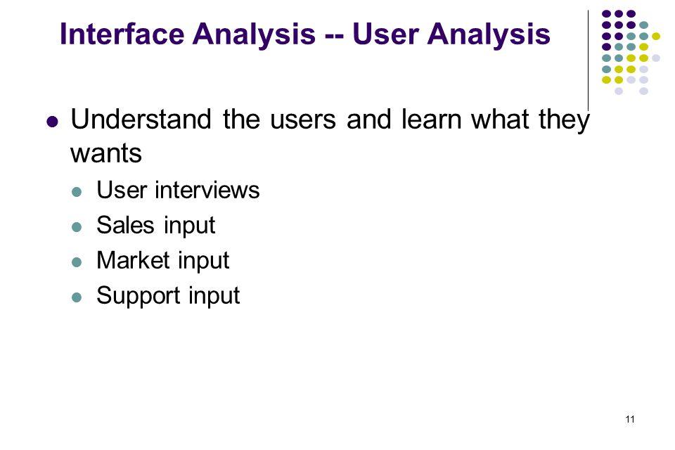 Interface Analysis -- User Analysis