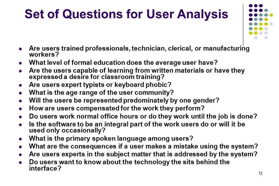 Set of Questions for User Analysis