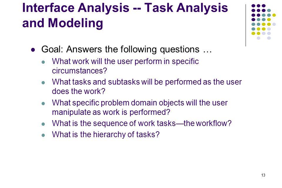 Interface Analysis -- Task Analysis and Modeling