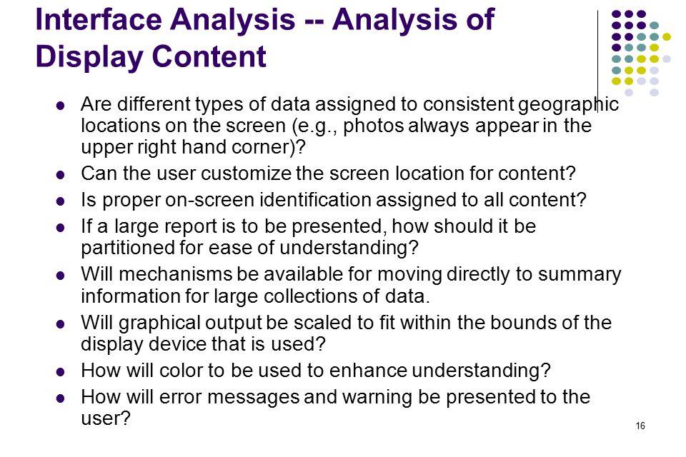 Interface Analysis -- Analysis of Display Content