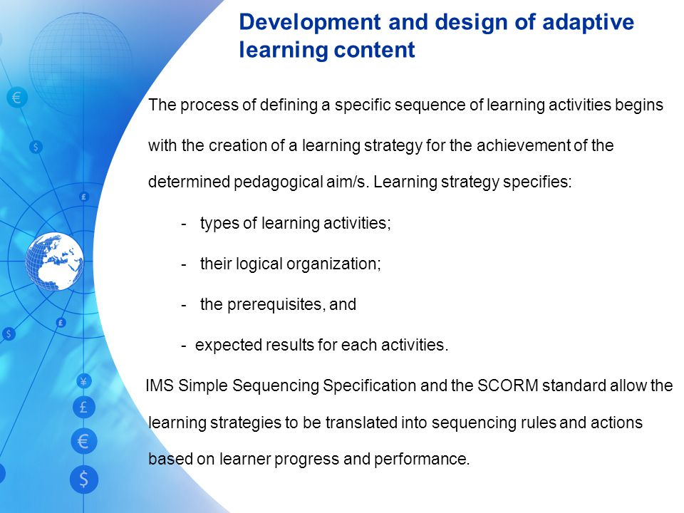 Development and design of adaptive learning content