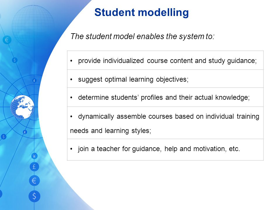 Student modelling The student model enables the system to: