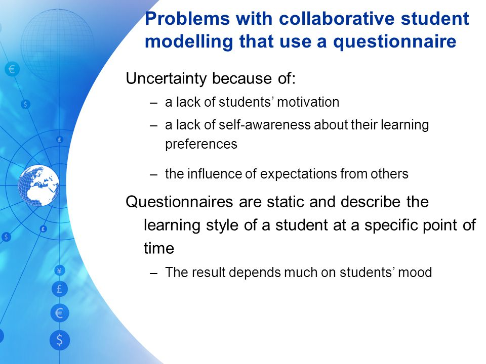 Problems with collaborative student modelling that use a questionnaire