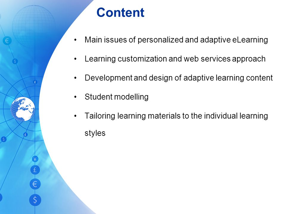 Content Main issues of personalized and adaptive eLearning
