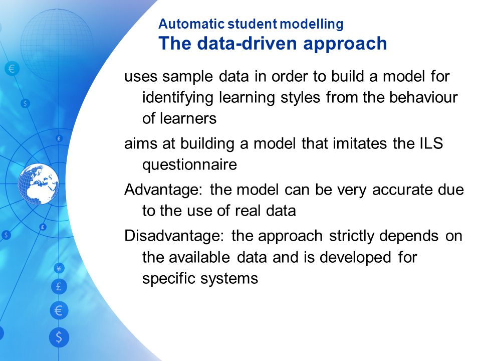 Automatic student modelling The data-driven approach