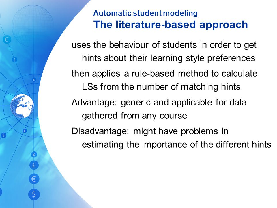 Automatic student modeling The literature-based approach