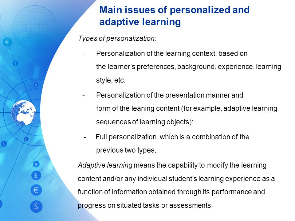 Main issues of personalized and adaptive learning