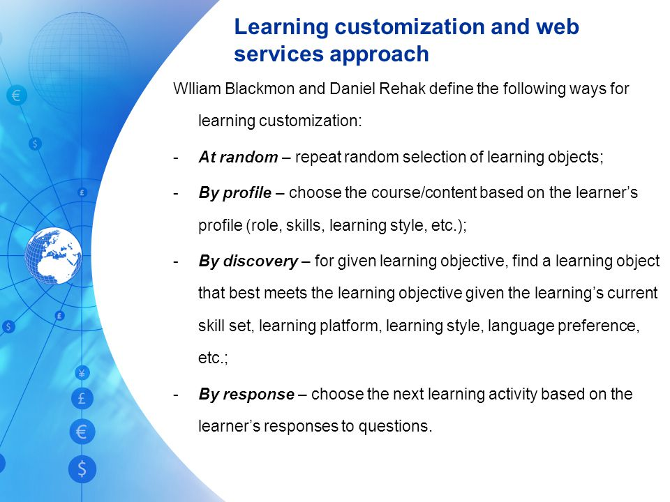 Learning customization and web services approach