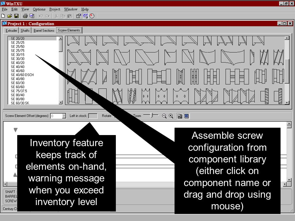 Assemble screw configuration from component library (either click on component name or drag and drop using mouse)