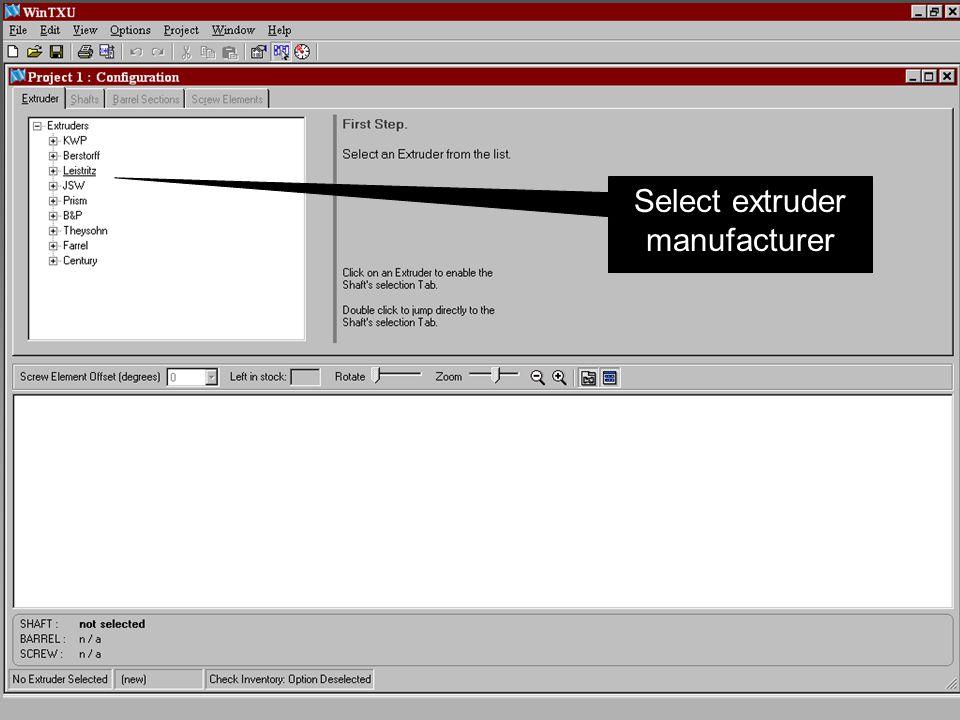 Select extruder manufacturer