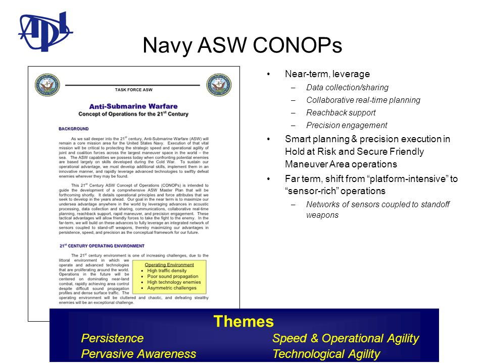 Navy ASW CONOPs Near-term, leverage. Data collection/sharing. Collaborative real-time planning. Reachback support.