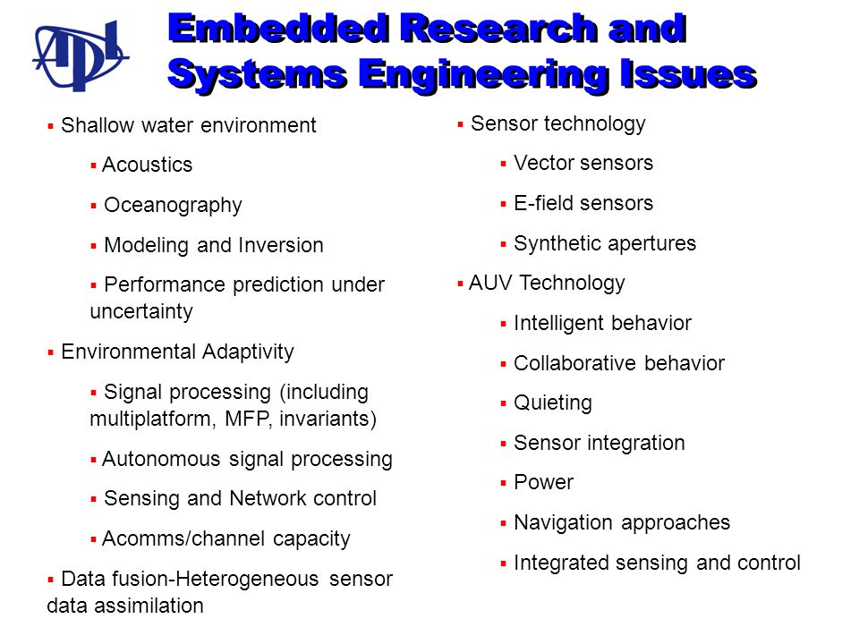 Embedded Research and Systems Engineering Issues