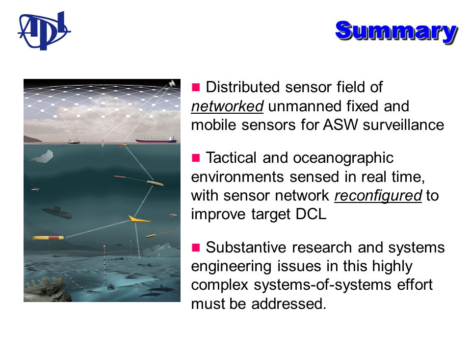 Summary n Distributed sensor field of networked unmanned fixed and mobile sensors for ASW surveillance.