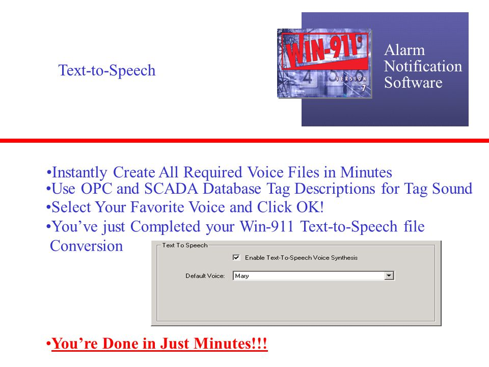 Alarm Notification. Software. Text-to-Speech. Instantly Create All Required Voice Files in Minutes.