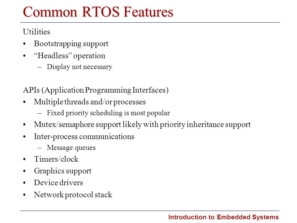 Common RTOS Features Utilities Bootstrapping support