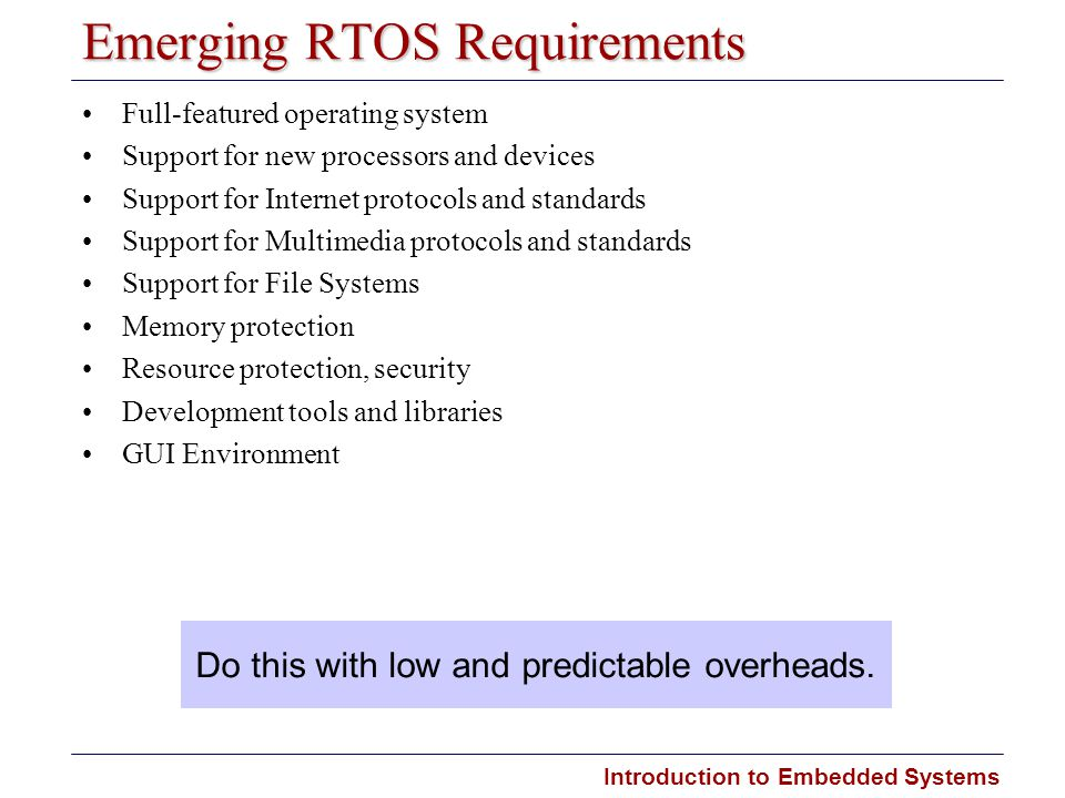 Emerging RTOS Requirements