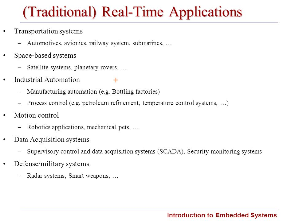 (Traditional) Real-Time Applications
