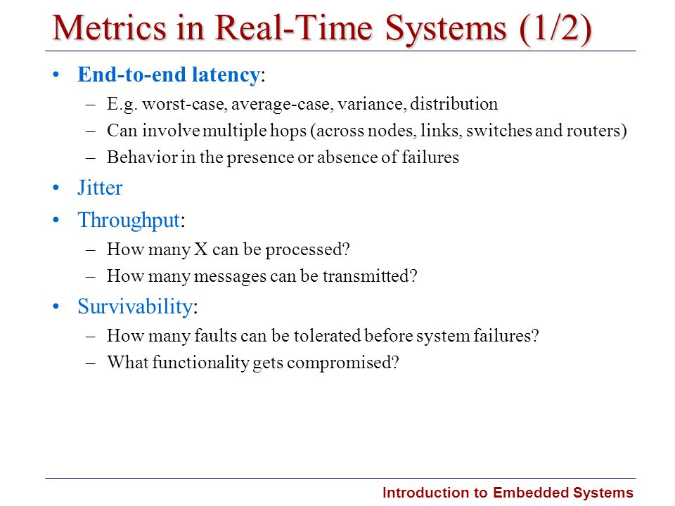 Metrics in Real-Time Systems (1/2)