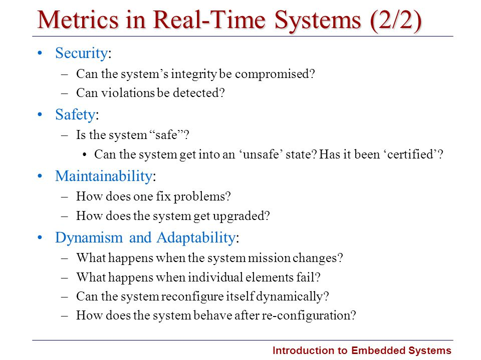 Metrics in Real-Time Systems (2/2)