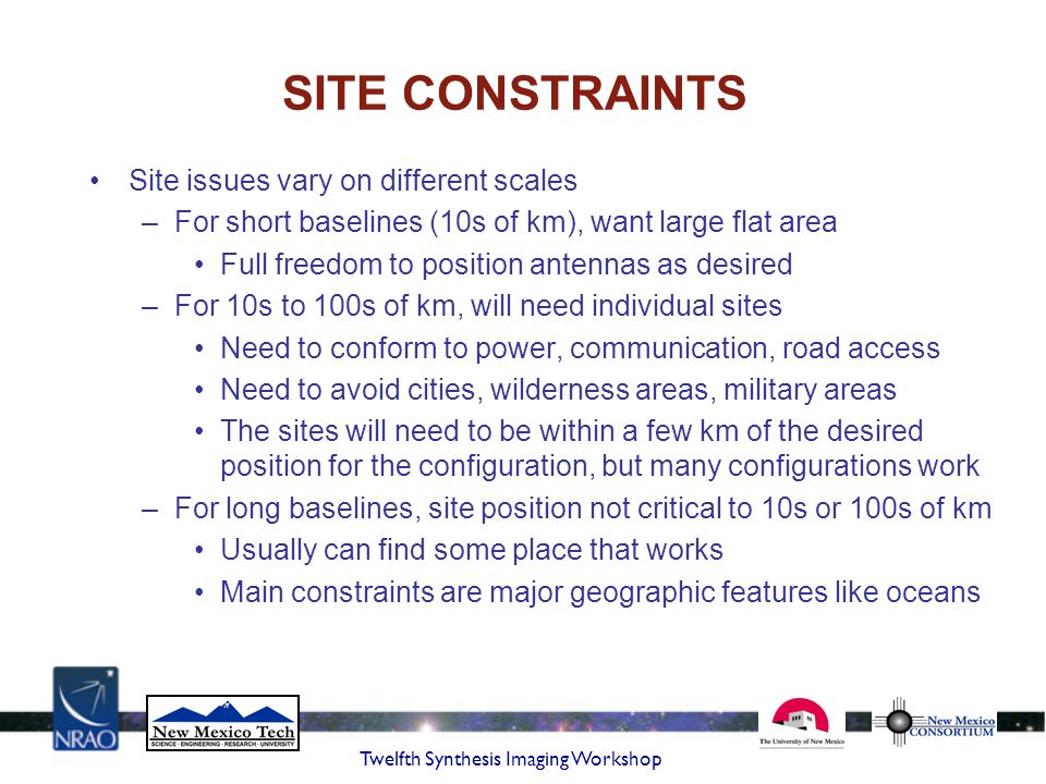 SITE CONSTRAINTS Site issues vary on different scales