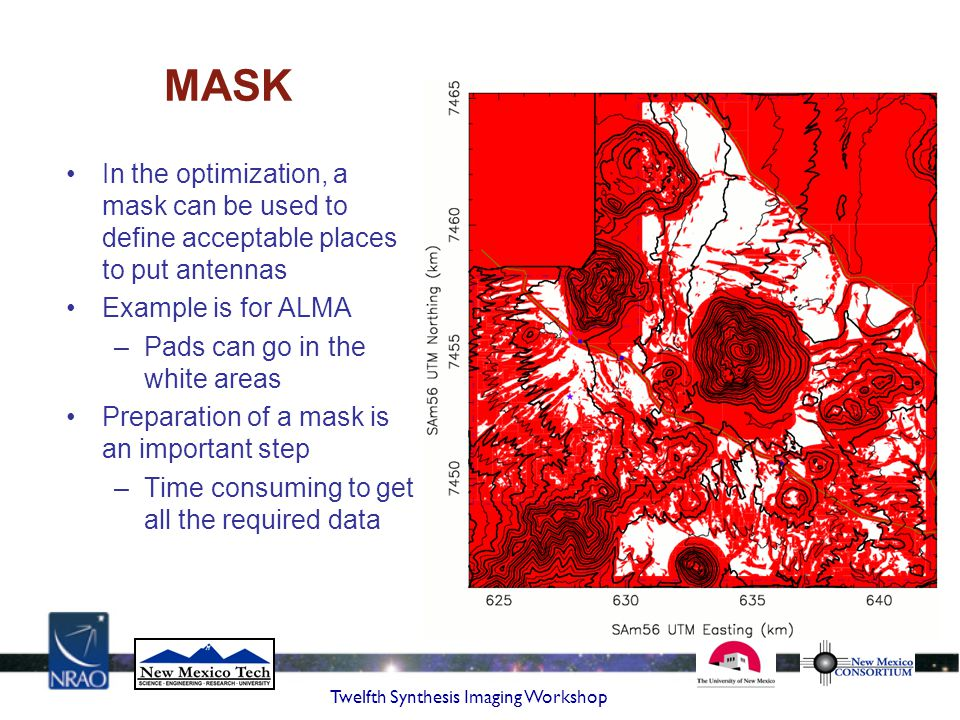 MASK In the optimization, a mask can be used to define acceptable places to put antennas. Example is for ALMA.