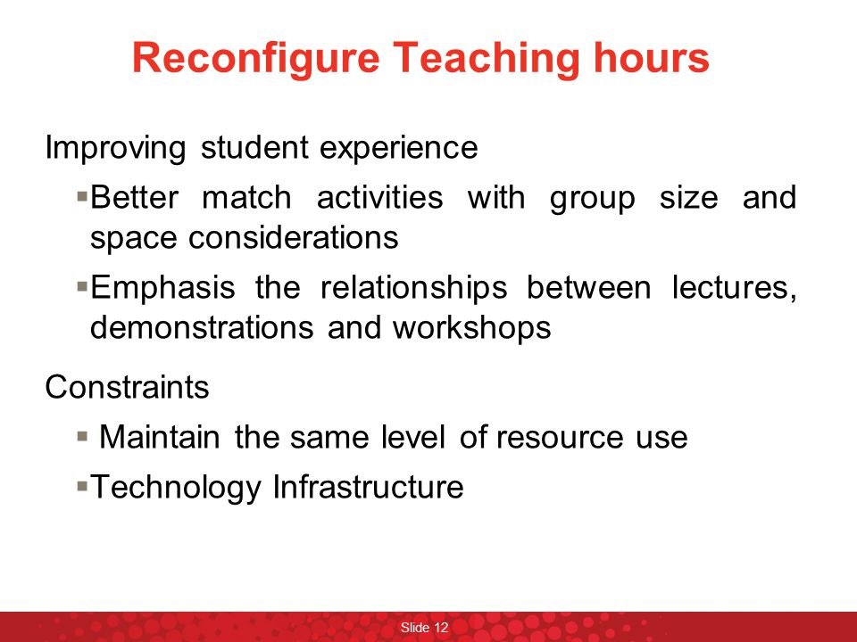 Reconfigure Teaching hours