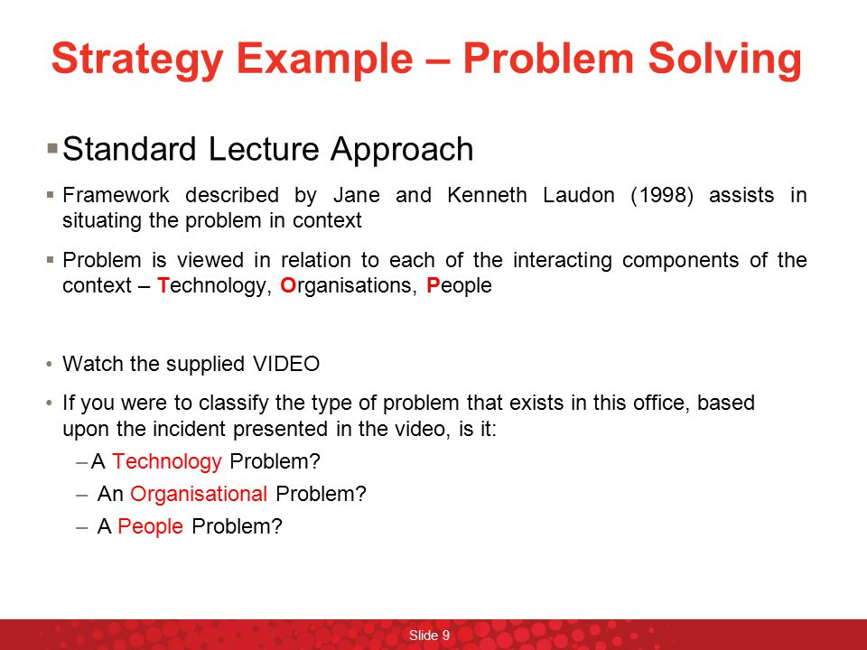 Strategy Example – Problem Solving