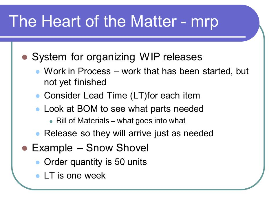 The Heart of the Matter - mrp