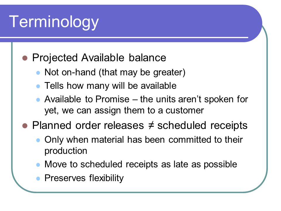 Terminology Projected Available balance