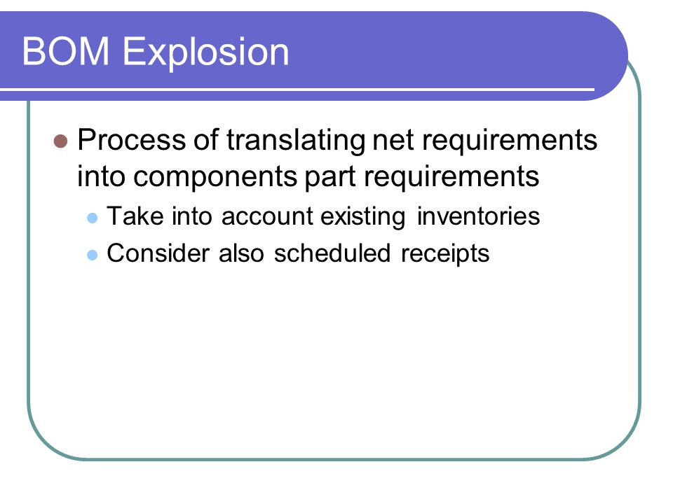 BOM Explosion Process of translating net requirements into components part requirements. Take into account existing inventories.