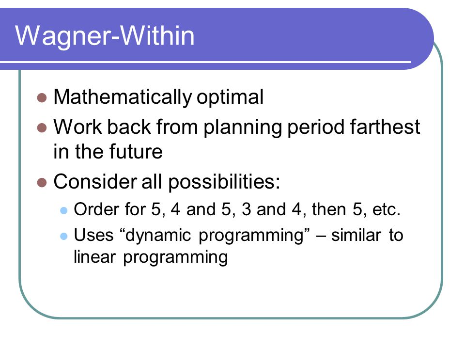 Wagner-Within Mathematically optimal