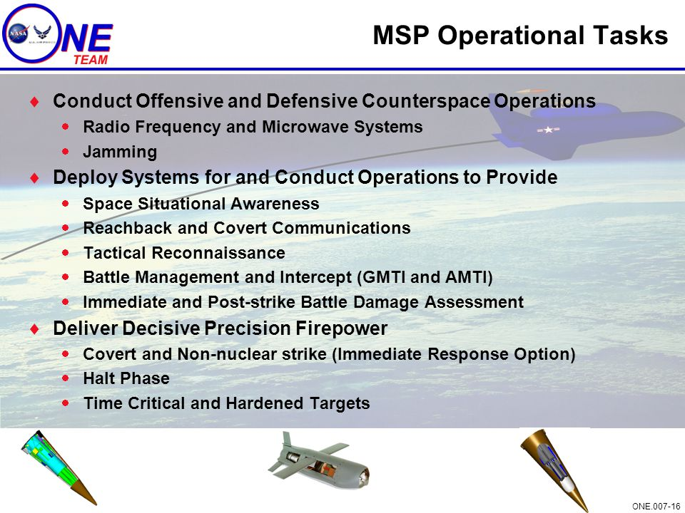 MSP Operational Tasks Conduct Offensive and Defensive Counterspace Operations. Radio Frequency and Microwave Systems.