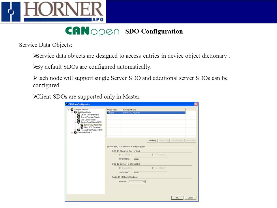 SDO Configuration Service Data Objects: