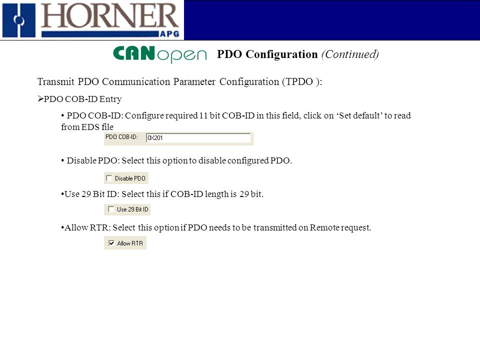 PDO Configuration (Continued)