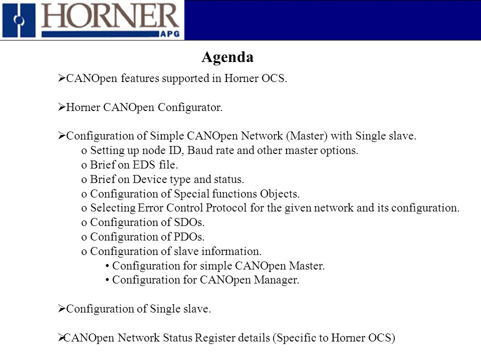 Agenda CANOpen features supported in Horner OCS.