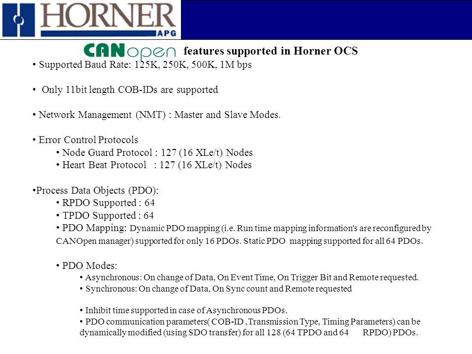 features supported in Horner OCS