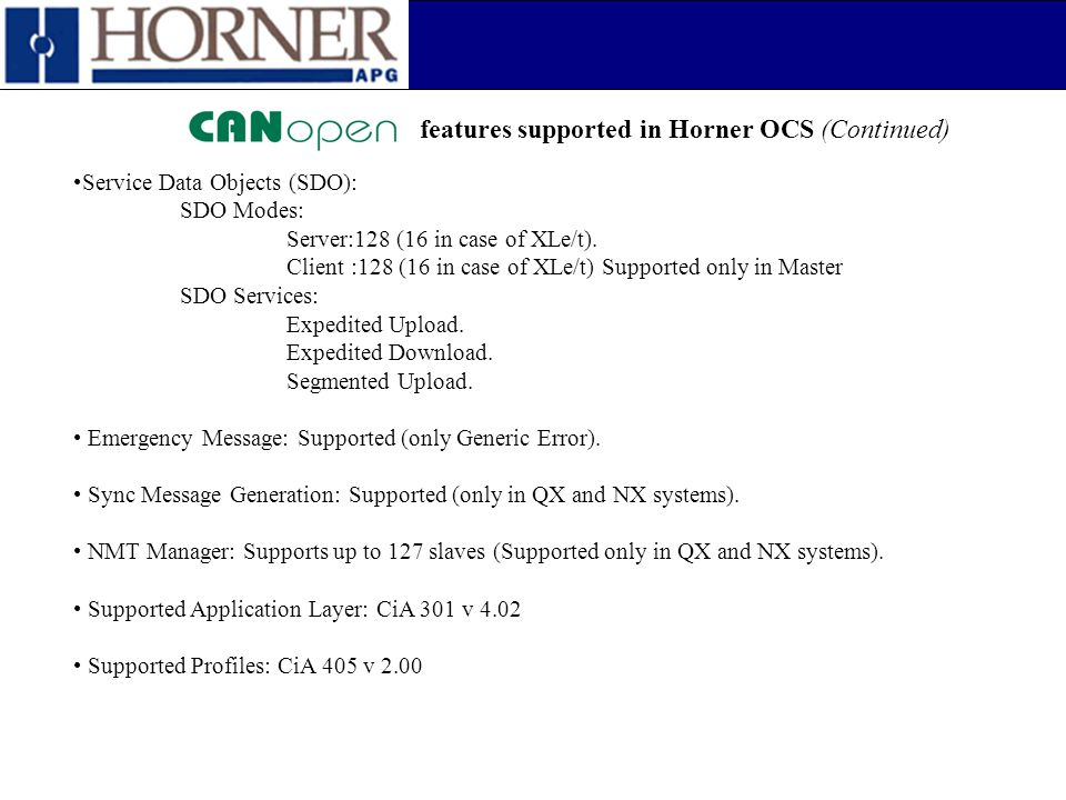 features supported in Horner OCS (Continued)