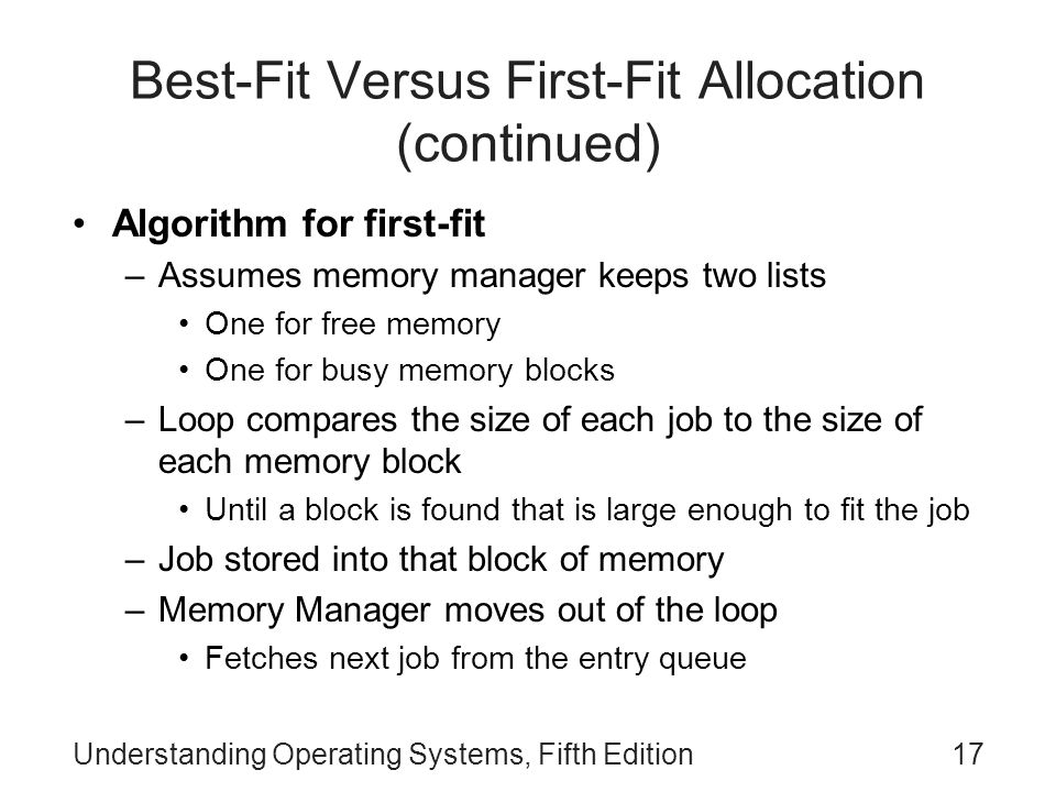 Best-Fit Versus First-Fit Allocation (continued)